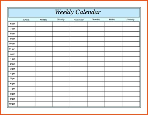 weekly calendar with hours template weekly calendar with hours weekly calendar template