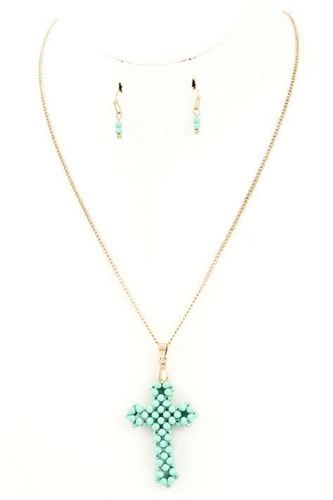 beaded cross pendant necklace necklaces
