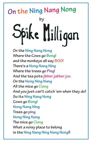 On The Ning Nang Nong Poem By Spike Milligan Poem Hunter | poem by spike milligan ning nang nong featuring ing