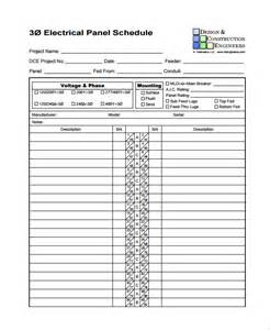 electrical schedule template sle panel schedule templates 6 free documents