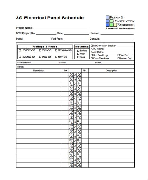 electrical schedule template sle panel schedule template 7 free documents