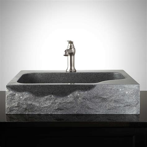 granite vessel sinks bathroom rectangular granite vessel sink with chiseled exterior