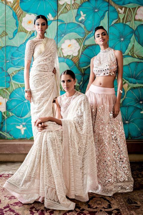 Dress Tradisional India Abu Abu abu jani sandeep khosla collection embellished white sarees light pink mirror work lehenga