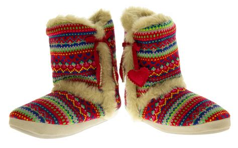 fur lined boot slippers dunlop boot slippers knitted alpine pattern faux