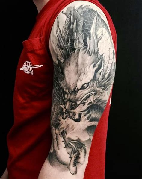 chronic ink tattoo toronto tattoo dragon half sleeve to 388 best images about asian black and grey tattoos on