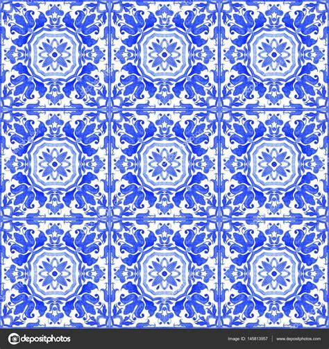 azulejo watercolor carreaux azulejos portugais mod 232 le sans couture aquarelle