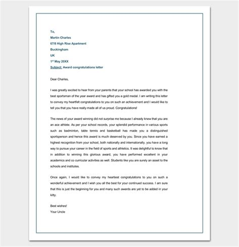 Award Congratulatory Letter Congratulation Letter Template 18 Sles For Word Pdf Format