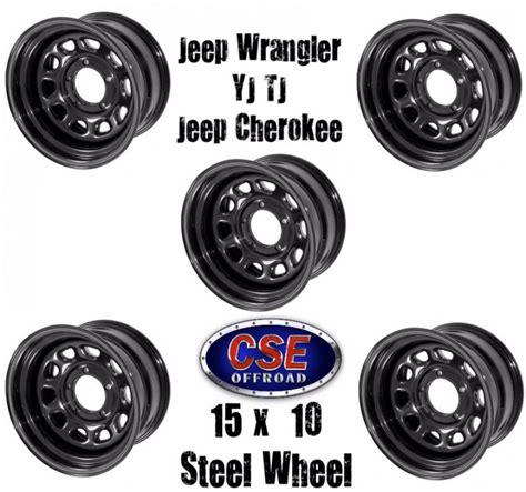 Jeep Wrangler Steel Wheels Black 15x10 Steel Wheel Set Of 5 Jeep Wrangler Yj Tj