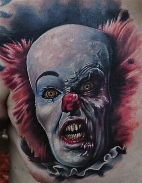 chest cover up tattoos for men scary clown ideas and scary clown designs