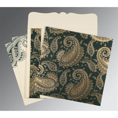 indian wedding card decorations green matte paisley themed screen printed wedding