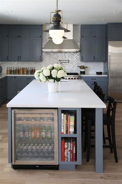 steel gray kitchen island  glass beverage fridge