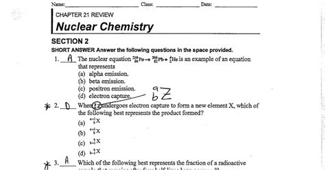 chemistry section nuclear chemistry worksheet lesupercoin printables worksheets