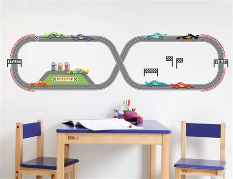 race track wall stickers 35pc bright wall stickers race track cars boy decals for bedroom ebay
