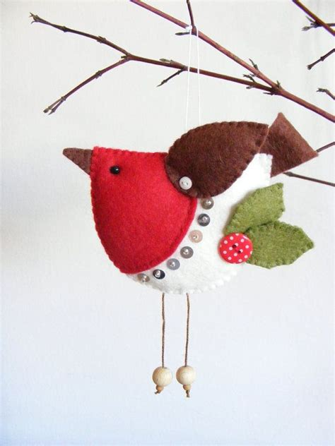 Pdf Pattern Felt Robin Christmas Tree Ornament Easy Sewing Pattern Bird Pattern Christmas Felt Robin Decoration Template