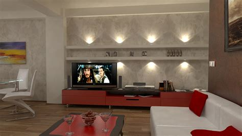 bilder 3d interieur wohnzimmer rot wei 223 1 - Wohnzimmer 3d Bilder