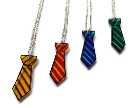 harry potter house tie necklaces