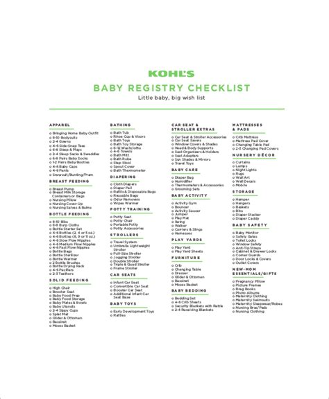 gift registry template 5 baby gift registry checklists free sle exle