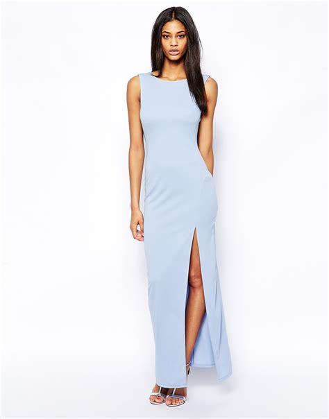 Dress Maxi Dress Wanita Maxi 1 lyst asos cowl back maxi dress in blue