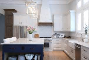 White And Blue Kitchen Cabinets blue and white kitchen kitchen with white cabinets and blue island