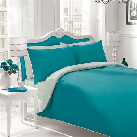 Gaveno Cavailia Plain Dyed Bedding Set In Teal And Duck