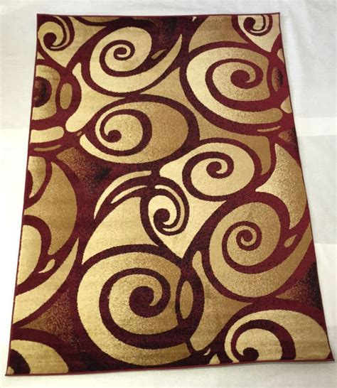 Rug 4 Burgundy Red Gold Beige Swirl Modern Style Oriental Area