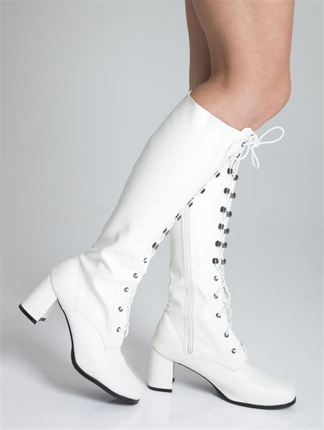 white knee high eyelet boots 60s 70s fashion boots