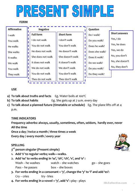 Simple And Easy Basic Grammar Diskon present simple crib sheet worksheet free esl printable worksheets made by teachers