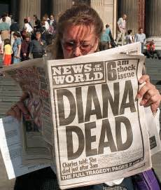 The front page of the news of the world reports news of princess diana