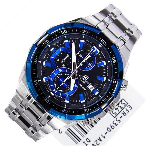 casio edifice black blue mens efr 539d 1a2 efr539d