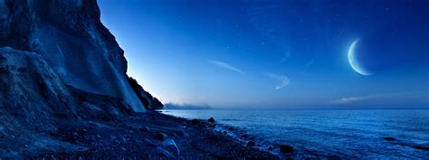 nightfall mountain sea moon wallpapers  jpg format