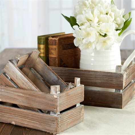 Rustic Farmhouse Wood Crate Set   Decorative Containers