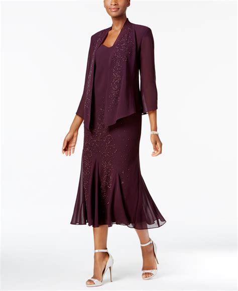 r m richards dresses lyst r m richards dress and jacket embellished chiffon in purple