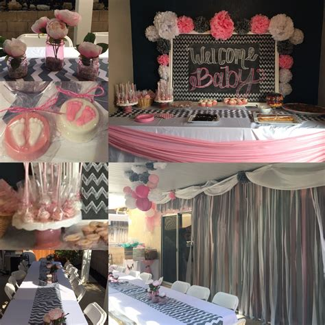 Pink And Grey Baby Shower Ideas by Baby Shower Decorations Grey Chevron Pink And White