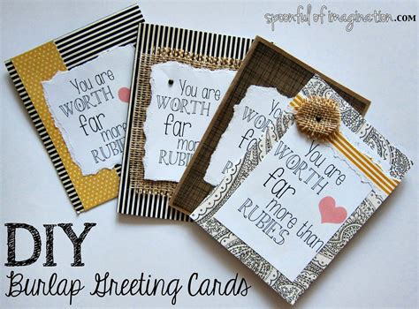 printable birthday cards diy diy burlap greeting cards spoonful of imagination