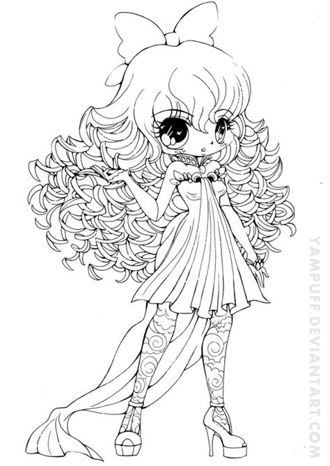 pretty hair coloring pages curly haired girl lineart by yampuff on deviantart