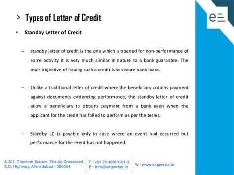 Financial Letter Of Credit Vs Performance Letter Of Credit difference between standby letter of credit and