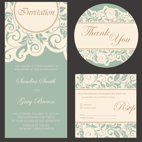 wedding invitation design vector free download retro wedding invitation cards design 02 free free download