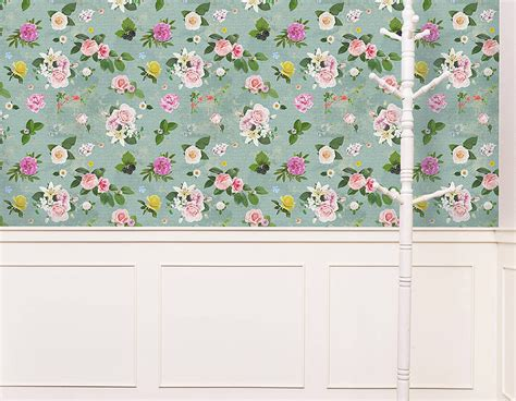 Wallpaper Sticker Dinding Shabbychic 10m self adhesive shabby chic floral wallpaper contemporary wall stickers