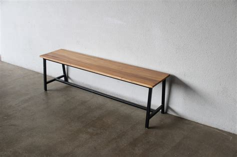 wood bench with metal legs industrial furniture as trendy as midcentury modern