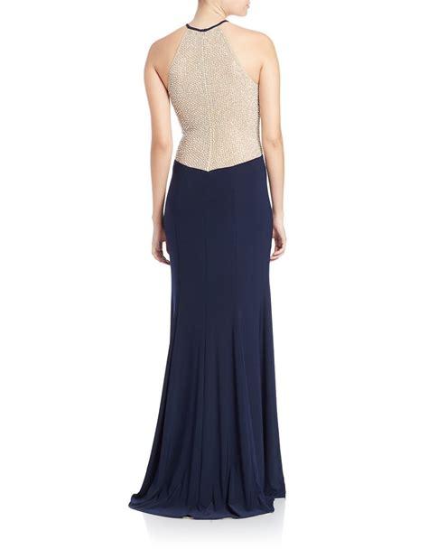 xscape beaded dress xscape plus beaded halter dress in blue lyst