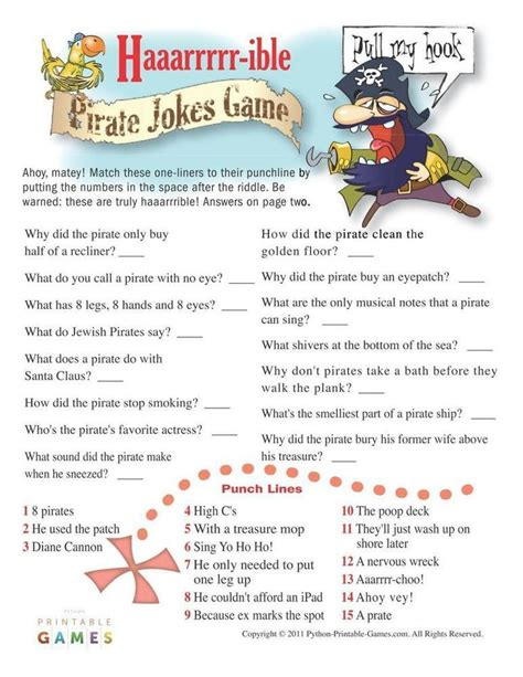 printable pirate jokes 9 best images about pirate party printable games on
