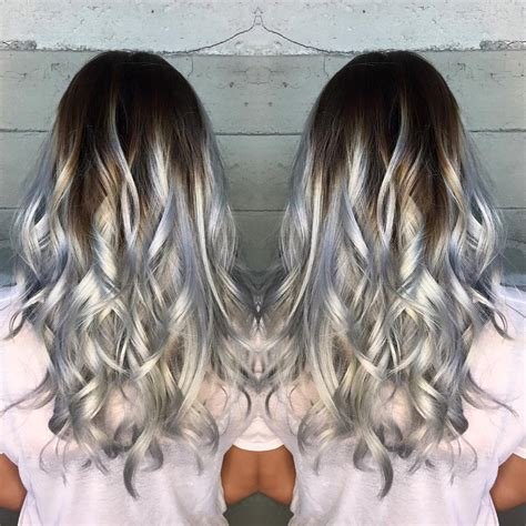 pics of med brown hair with gray highlights high contrast icy silver color melt hair color