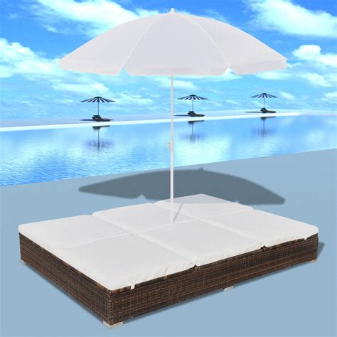 sun bed luxury outdoor rattan sun bed 2 persons with parasol brown