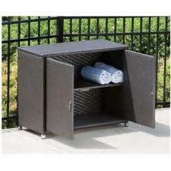 alfresco home vento wicker outdoor storage cabinet java