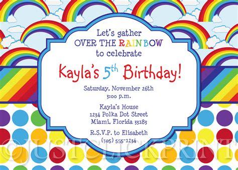 rainbow invitation card template birthday invitation templates rainbow birthday invitations