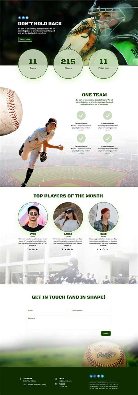 download layout divi a free 1 page divi theme layout for a baseball club