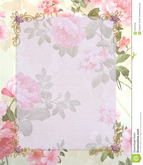 gold and pink flower cards template wedding invitation pink roses stock illustration image