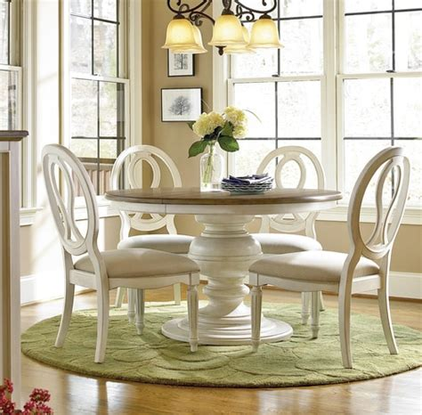 Country Chic 5 Piece Round White Dining Table Set Zin Home Country Chic Dining Table