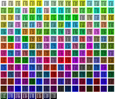 simon whatley web safe colour charts