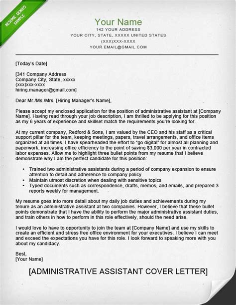 Resume Cover Letter For Administrative Assistant Position by Sle Email Cover Letter For Administrative Assistant 11561